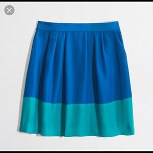 JCrew Blue & Turquoise Color Block Skirt
